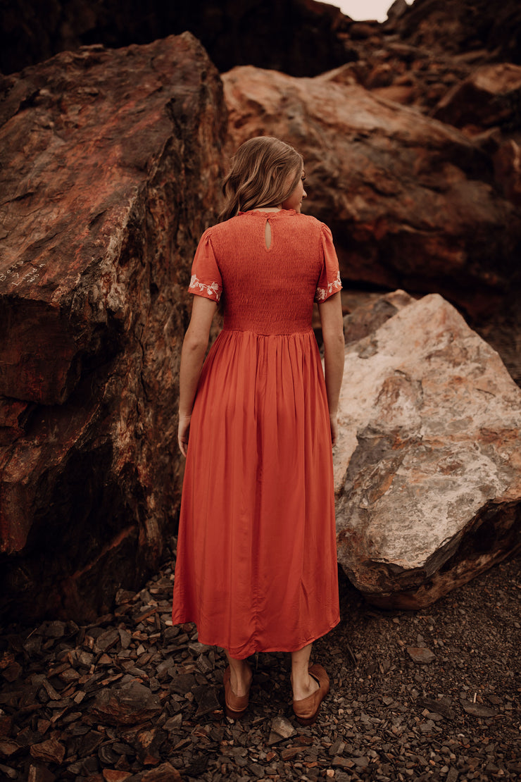 Rust Smocked Embroidered Sleeve Dress