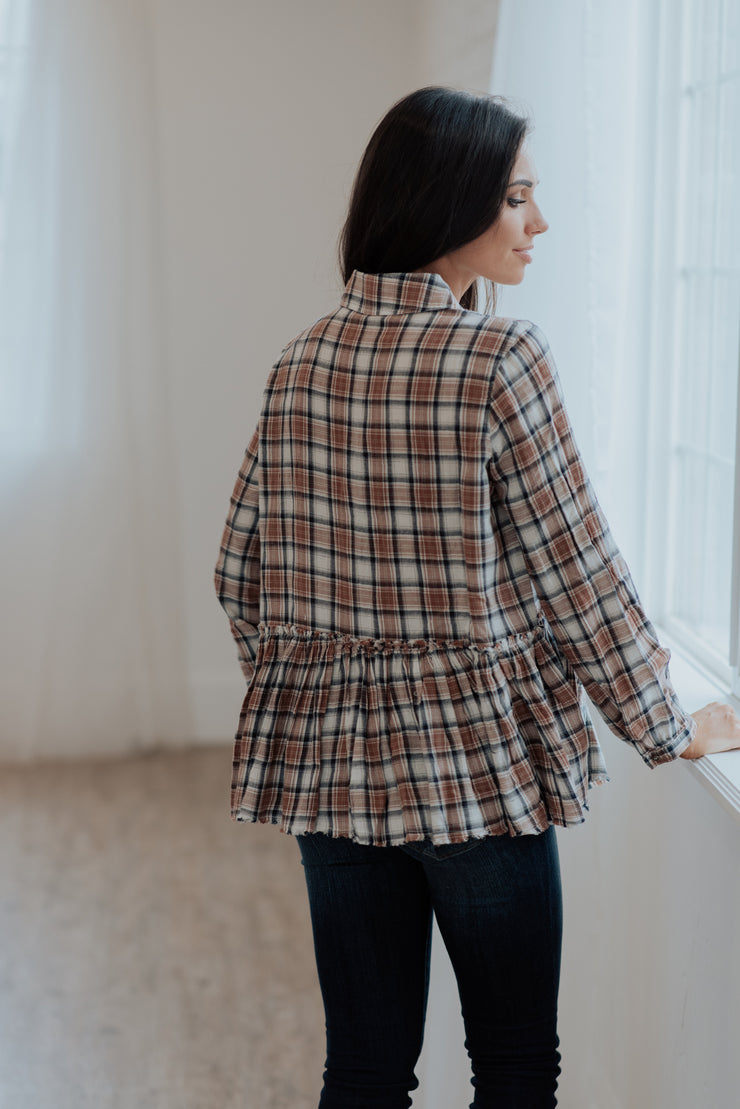 Coco Plaid Ruffle Bottom Blouse Shop Emma Lou