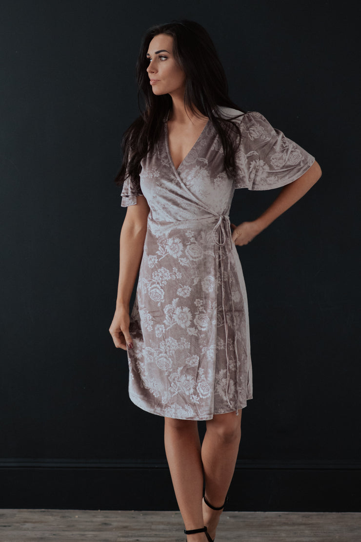 Roxanne Velvet Floral Wrap Dress