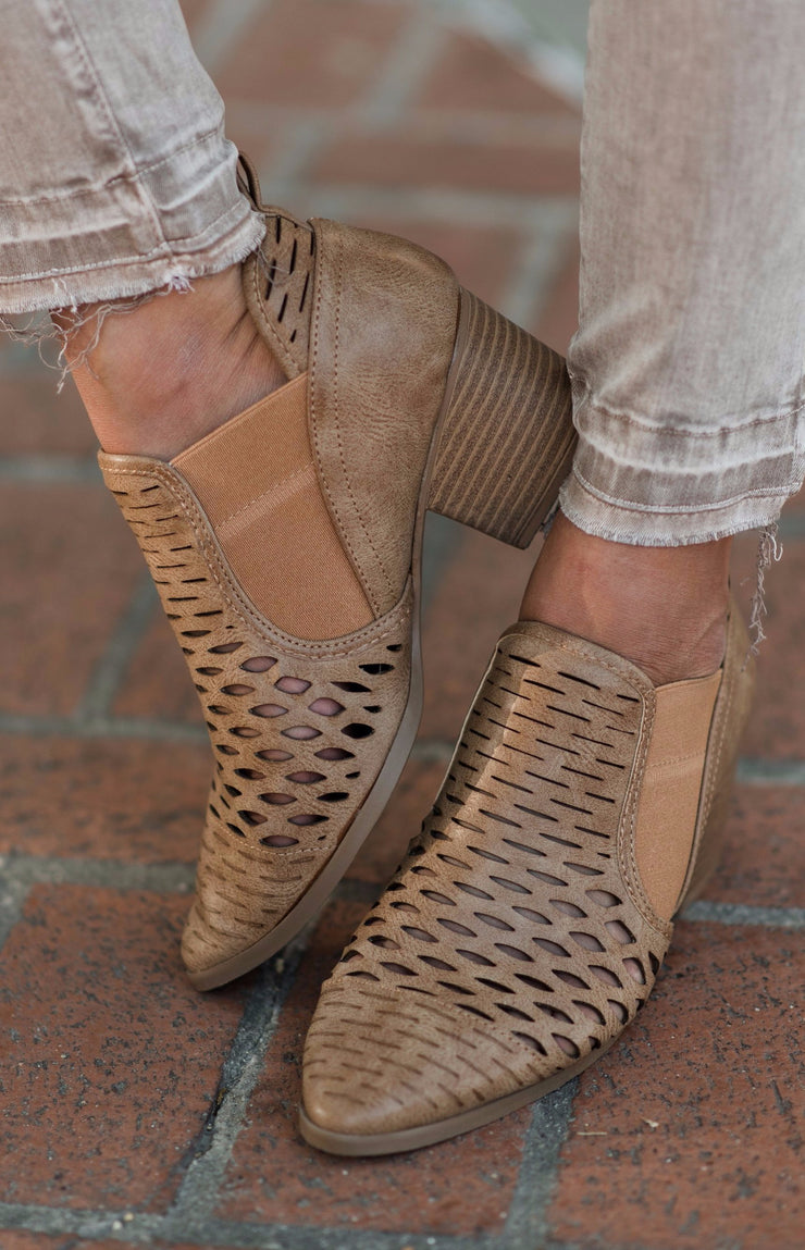 lennon mesh booties in camel shop emma lou