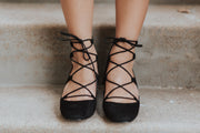 Veronica Black Lace-up Heels