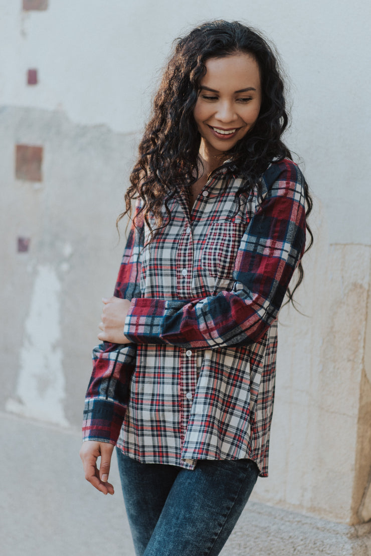 Let's go somewhere plaid top shop  emma lou