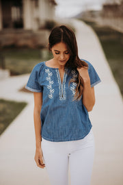 Sonora Embroidered Denim Blouse