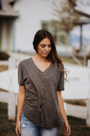 Thea Button Up Top in Heathered Black