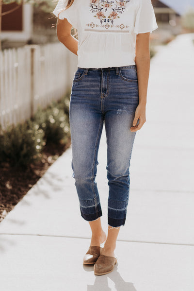 Ombre Hem Cropped Jeans