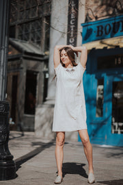 Kiera Cream textured tee dress shop emma lou
