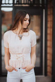 All Tied Up Peach Blouse