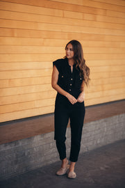 della black button jumpsuit shop emma lou