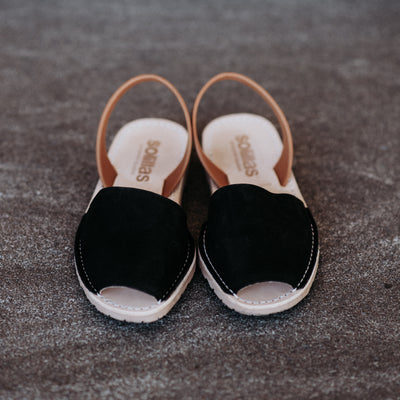 Solillas Sandals in Black and Tan