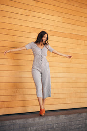 amity striped black and white button jumpsuit shop emma lou