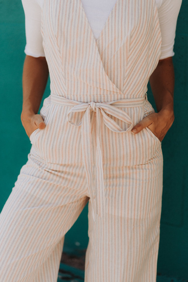 athena pink and blue striped v neck jumpsuit shop emma lou