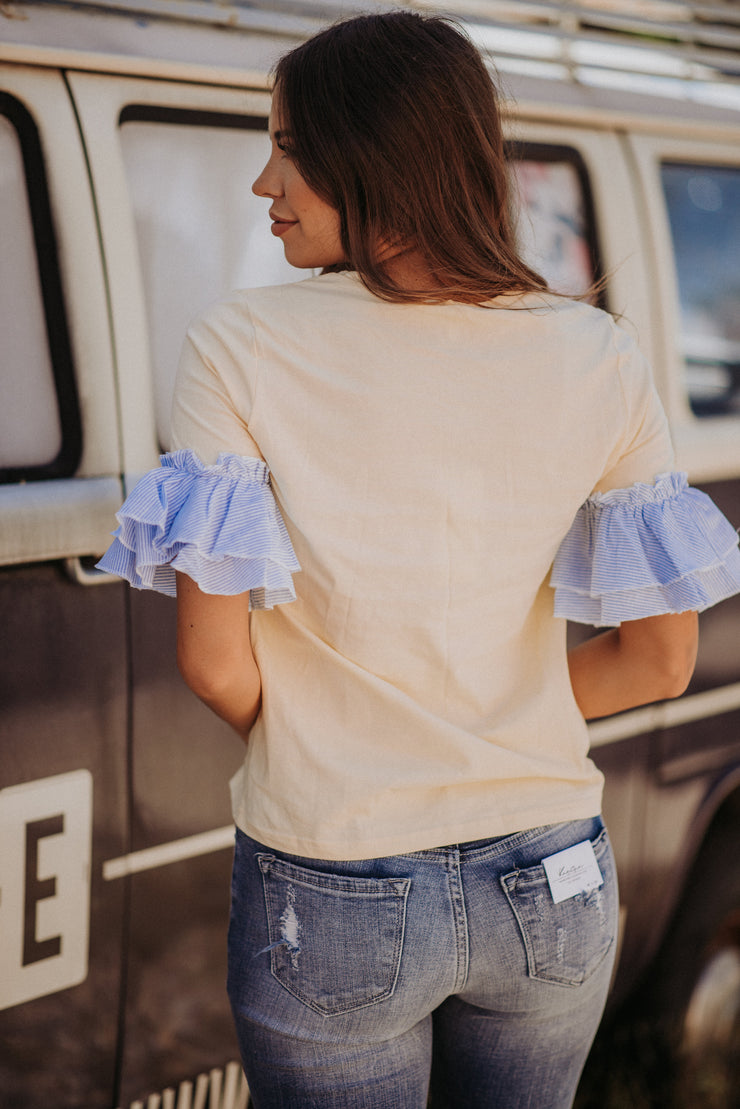 dana yellow and blue ruffle sleeve blouse shop emma lou