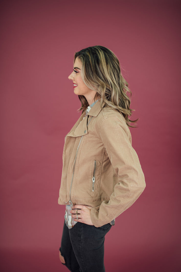 Juno Leather Jacket in Blush