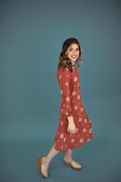 Troy Printed Dress in Rust