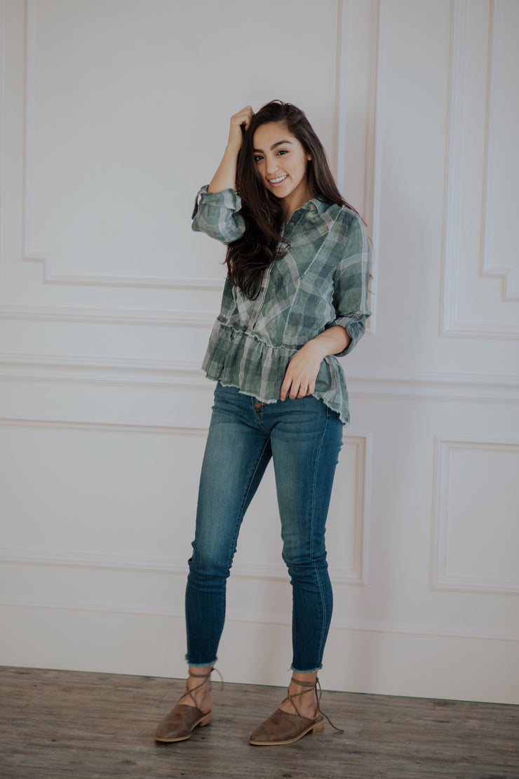 Frankie Plaid Peplum Top Shop Emma Lou