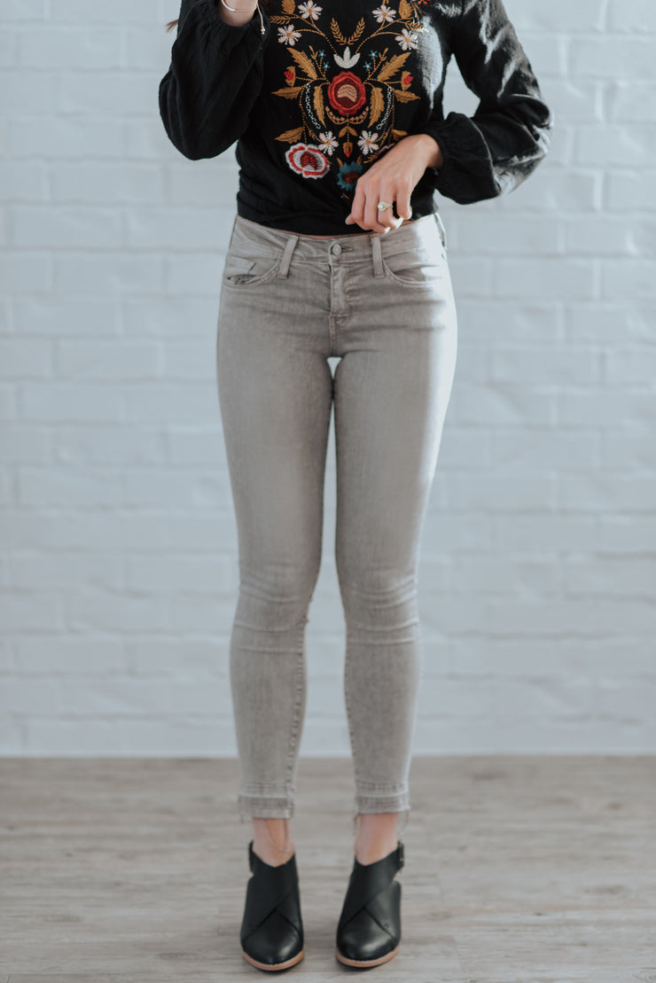 Flying Monkey Gray Released Hem Skinny Jeans Shop Emma Lou