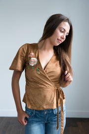 Heidi Embroidered Wrap Top in Camel Shop Emma Lou