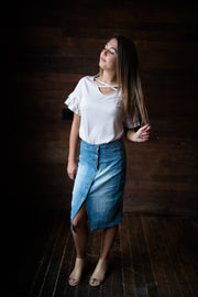 Denim Button Skirt Shop Emma Lou