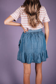Ruffle Denim Skirt