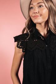 Black Eyelet Blouse