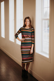 Fawnie Striped Ribbed Dress