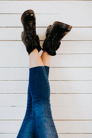 Betta Combat Boots in Black