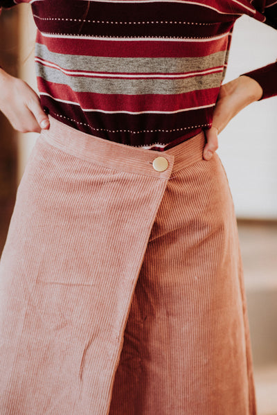 Blush Corduroy Skirt