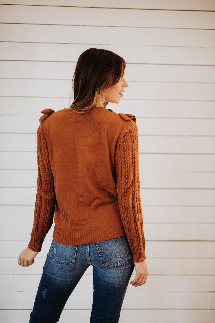 Enid Ruffle Sweater in Rust