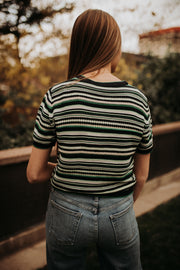 Retro Striped Short Sleeve Sweater
