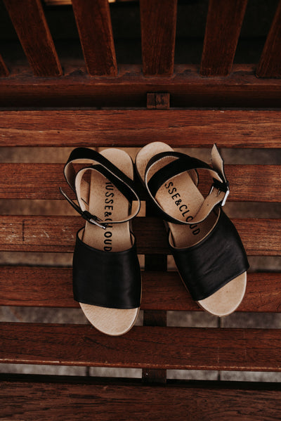 Leather Platform Sandals in Black