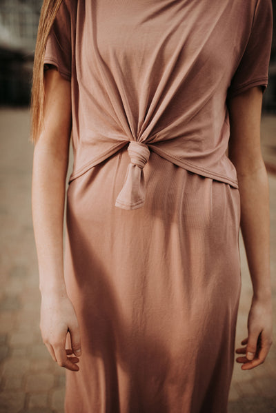 Serenity Knotted Dress in Mauve