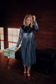Harrah Pleated Velvet Dress