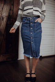 Raw Hem Denim Midi Skirt