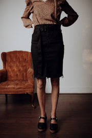 Belted Black Denim Skirt