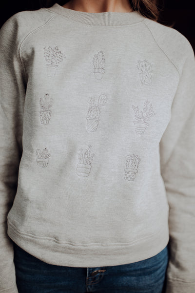 Embroidered Cactus Pullover