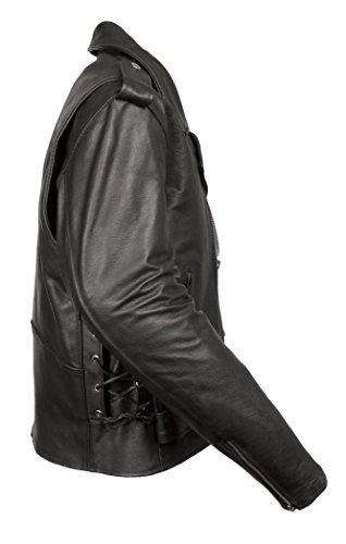 Side Lace Medium Mens Classic M//C Style Leather Side Lace Motorcycle Jacket W// Half Belt