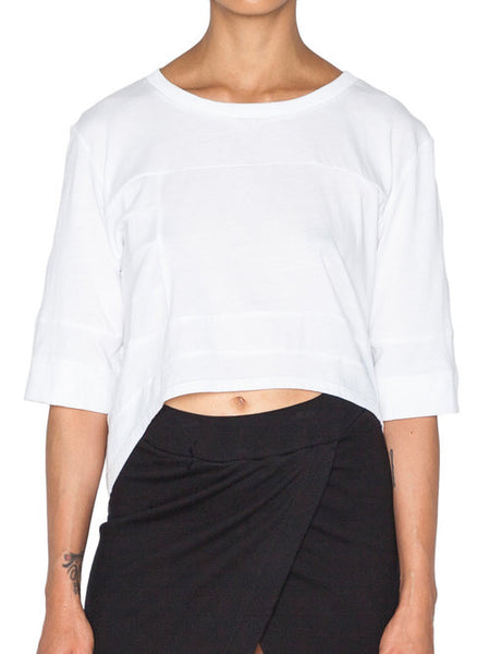 THE WELL - MOTO CROP TOP - WHITE -  WOMENS | TOPS - The Well