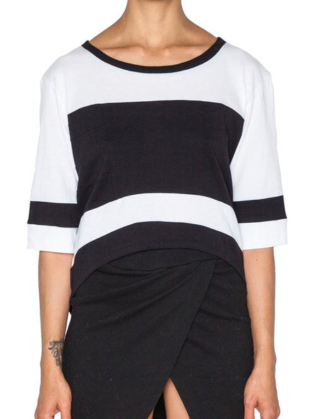 THE WELL - MOTO CROP TOP - WHITE/BLACK -  WOMENS | TOPS - The Well