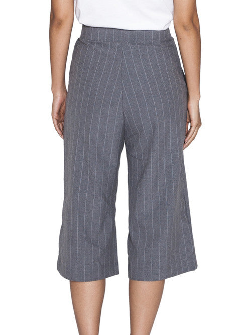 THE WELL - CLASSIC CULOTTE - GREY PINSTRIPE -  WOMENS | BOTTOMS - The Well