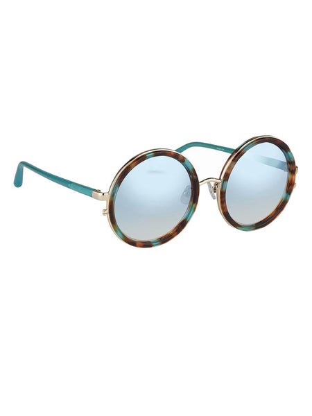LINDA FARROW - LINDA FARROW X MATTHEW WILLIAMSON - T-SHELL/JADE/LIGHT GOLD CIRCLE FRAME -  EYEWEAR - The Well