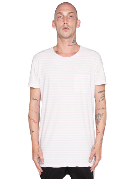 KSUBI - SLASH STRIPE S/S TEE -  PINK/WHITE -  MENS | TOPS - The Well