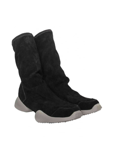RICK OWENS - RUNNER ANKLE BOOTS - BLACK SUEDE -  MENS | SHOES - The Well