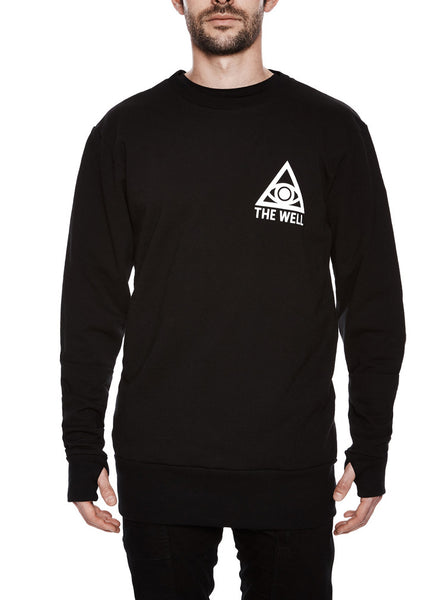 THE WELL - THE WELL LOGO CREWNECK - BLACK -  MENS | OUTERWEAR - The Well
