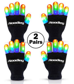 2 Pairs Flashing LED Light Finger Gloves Kids Size - Extra Batteries