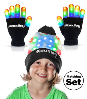 Flashing LED Light Finger Gloves and Beanie Hat Set - Extra Batteries - Toys For Boys and Girls Kids Gifts