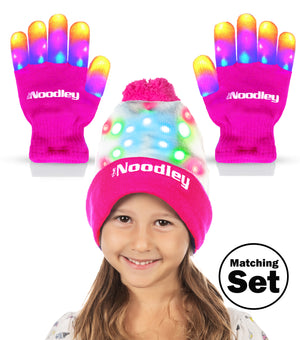 Flashing LED Finger Light Up Gloves and Beanie Hat Set - Extra Batteries