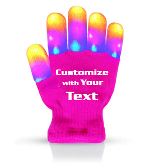 Personalized Flashing LED Light Finger Gloves - Kids Size - Extra Batteries