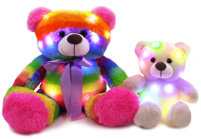 The Noodley Light Up Rainbow Teddy Bear Mom & Baby Set Stuffed Animal Plush Sleep Toy for Toddlers, Kids, Boys & Girls Christmas Gift, Valentines, Easter,  Rainbow 16  and 11 inch