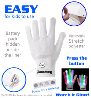 The Noodley Thin LED Flashiing Light Gloves Cool Toys Boy Gift Ideas - Kid Sized (White)