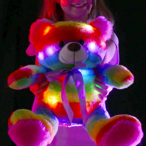 "The Noodley 16"" LED Stuffed Animals Light Up Plush Toys Kids Night Lights Easter Gifts for Toddlers, Boys & Girls - Rainbow Teddy Glow Bear (2 Pack, Zipper)"